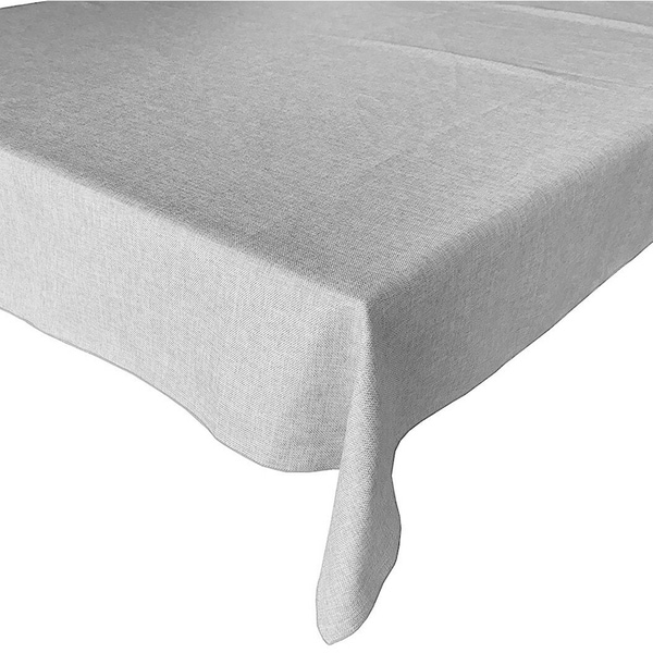 """Faux Burlap Style Polyester Woven Tablecloth 48"""" x 48"""" Silver"""