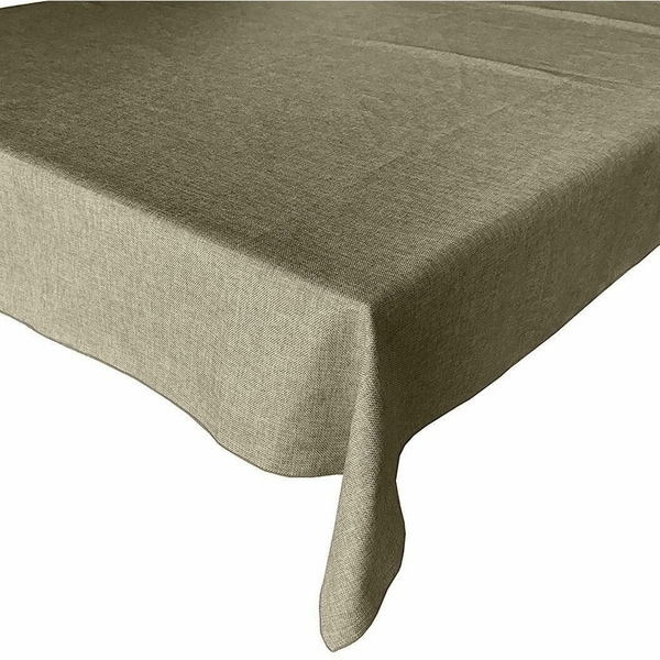 """Faux Burlap Style Polyester Woven Tablecloth 58"""" x 76"""" Ivory"""