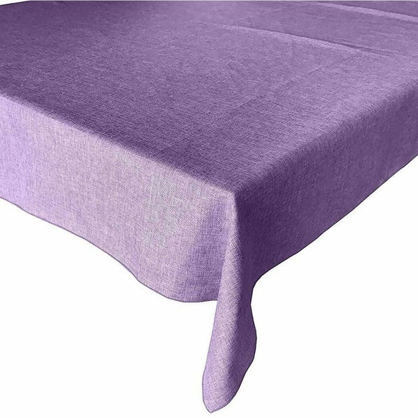"Faux Burlap Style Polyester Woven Tablecloth 58"" x 76"" Lavender"