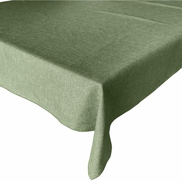 """Faux Burlap Style Polyester Woven Tablecloth 58"""" x 76"""" Willow"""