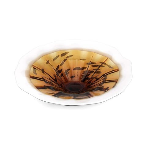 Decorative Textured Glass Plate with Wavy Opening, Brown and White
