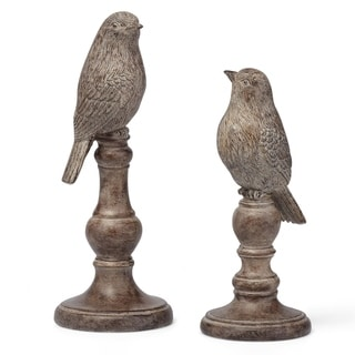 Decorative Resin Bird Statuaries With Round Base and Rustic Accents, Set of Two, Brown