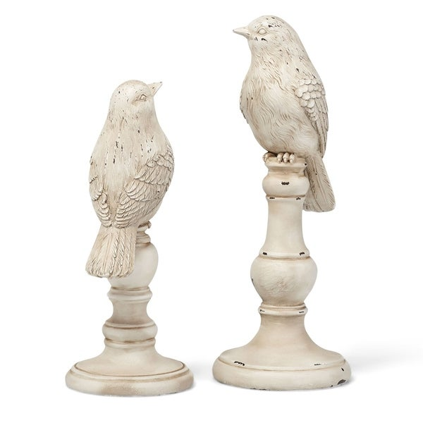 Decorative Resin Bird Statuaries With Round Base and Rustic Accents, Set of Two, White