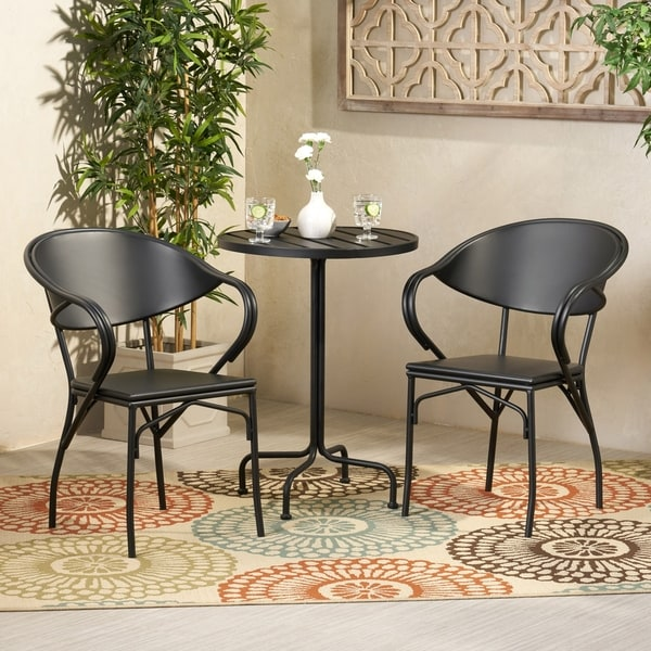 Palm Desert Outdoor Modern 3 Piece Bistro Set by Christopher Knight Home. Opens flyout.