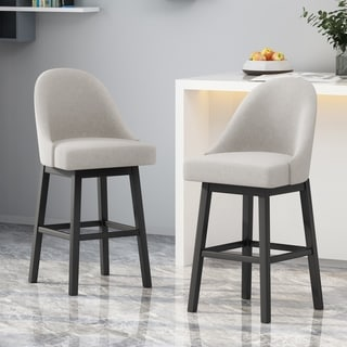 Link to Boyd Modern Upholstered Swivel Bar Stool (Set of 2) by Christopher Knight Home Similar Items in Dining Room & Bar Furniture