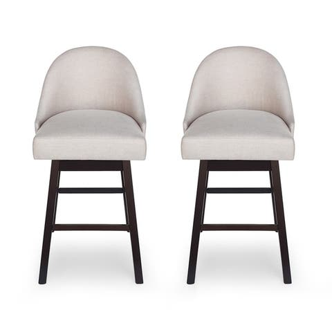 Boyd Modern Upholstered Swivel Bar Stool (Set of 2) by Christopher Knight Home