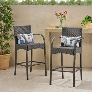 Cascada Outdoor Wicker Barstool Chair (Set of 2) by Christopher Knight Home