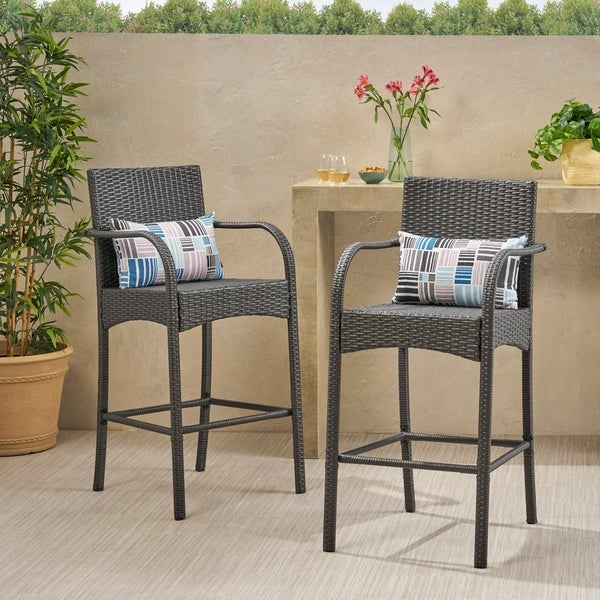 Cascada Outdoor Wicker Barstool Chair (Set of 2) by Christopher Knight Home. Opens flyout.