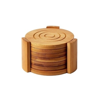 6-Pack Set Bamboo Wooden Coaster with Holder, Round Cup Coasters, Tan, 4.3""