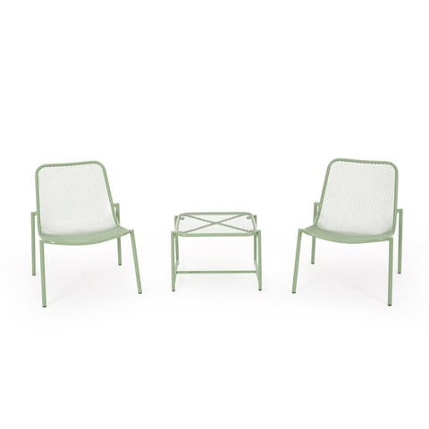 Bucknell Outdoor Modern 2 Seater Chat Set by Christopher Knight Home