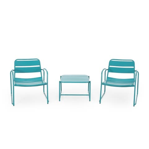 Cowan Outdoor Modern 2 Seater Chat Set by Christopher Knight Home