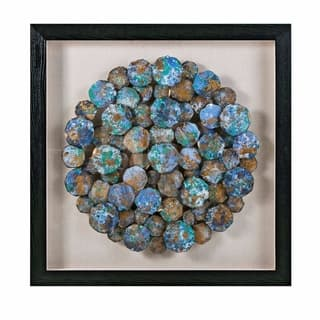 Decorative Wooden Frame Paper Spheroid Wall Art in Glass Box, Multicolor