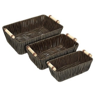 3-Piece Storage Basket, Brown Woven Storage Containers, Small, Medium, Large