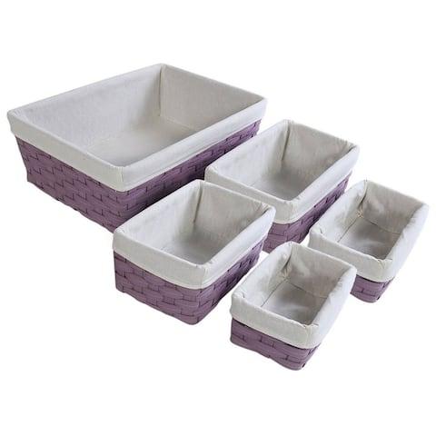 5x Nesting Basket, Purple Wicker Decorative Baskets, 2 Small, 2 Medium, 1 Large