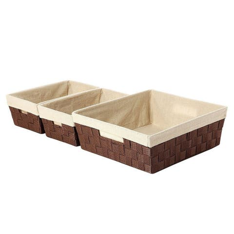 3-Piece Woven Storage Baskets, Brown and Beige, Small, Medium, and Large