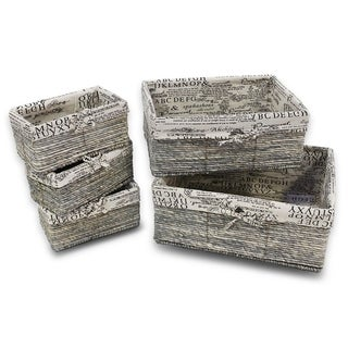 5x Nesting Storage Baskets, Stone Gray, Text Design, 3 Small, 1 Medium, 1 Large