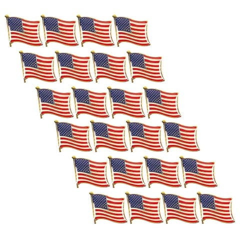 24-Pack American Flag Waving Lapel Pins, Patriotic US Flag Pins for National Day