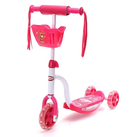 Chromewheels PIXIE PLUS GLIDEKICK 3 Wheel Toddler Scooter With Sounds & Lights Pink - Multi