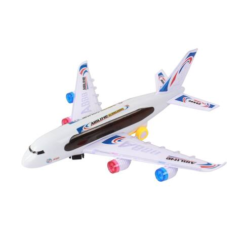 Bump And Go Electric Air Bou Kids Action Airplane With Attractive Lights And Sounds For Kids Age 3 And Up - Multi