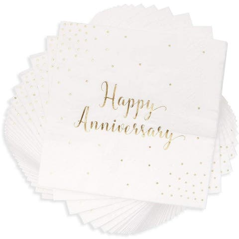 50-Pack Cocktail Napkins - Happy Anniversary Printed in Gold Foil Confetti