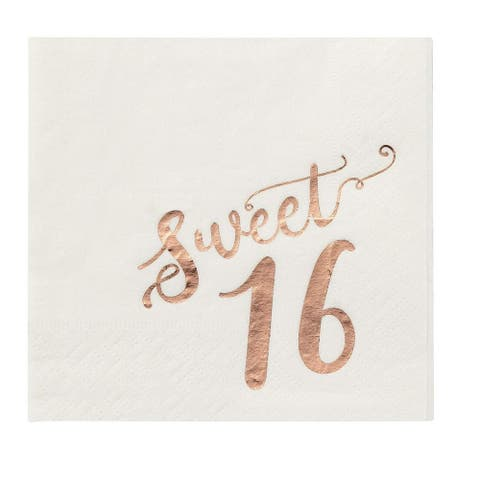 Birthday Party Cocktail Napkins 50 Pack Rose Gold Foil Disposable Paper Napkins