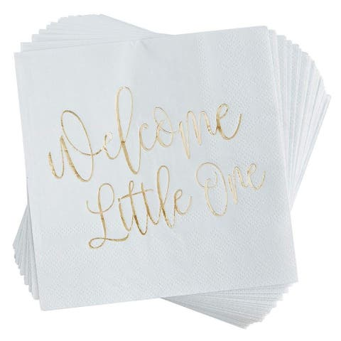 50 Gold Foil Welcome Little One Baby Shower Cocktail Napkins Party Decoration 5""