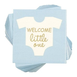 """100 Disposable Boy Baby Shower Cocktail Paper Napkins Party Decorations, 5""""x5"""""""
