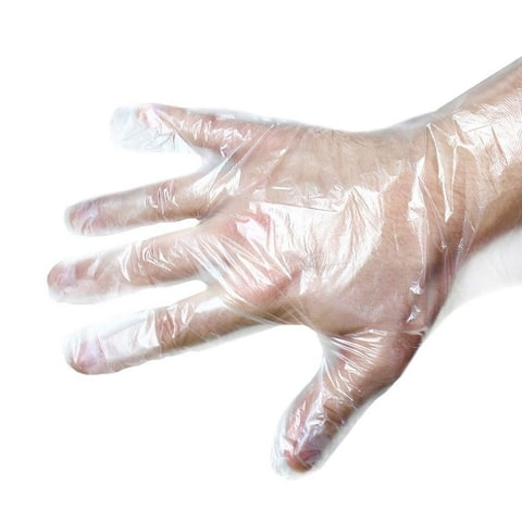 100 Pcs Disposable Gloves for Kitchen Cleaning, Plastic Transparent, One Size