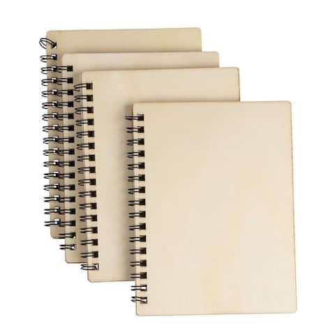 """4 Pcs Blank Spiral Notebooks, Unruled, Wood cover, Journals, Gifts, 4.5"""" x 5.8"""" - 4.5"""" x 5.8"""""""