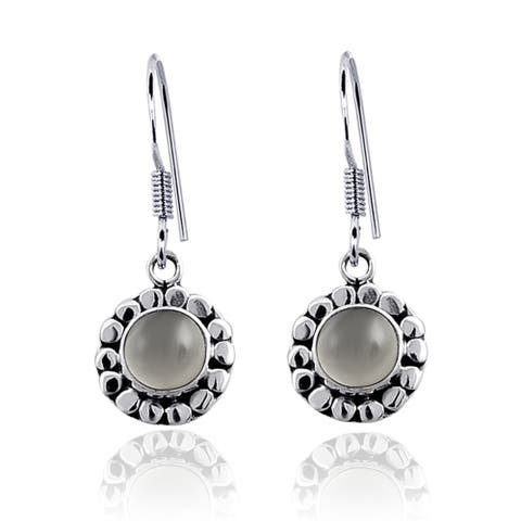 Grey Moon Stone Sterling Silver Round Dangle Earrings by Orchid Jewelry