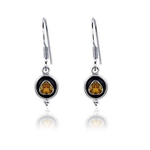 Citrine, Garnet Sterling Silver Heart Dangle Earrings by Orchid Jewelry
