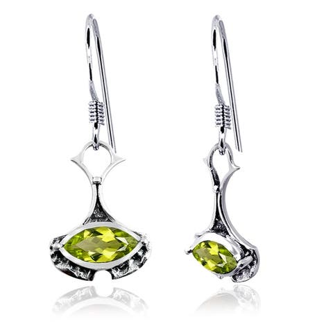 Smoky Quartz, Peridot, Topaz Sterling Silver Marquise Dangle Earrings by Orchid Jewelry