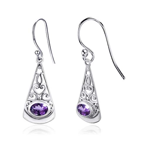 Multi Color Gemstones Sterling Silver Oval Dangle Earrings by Orchid Jewelry