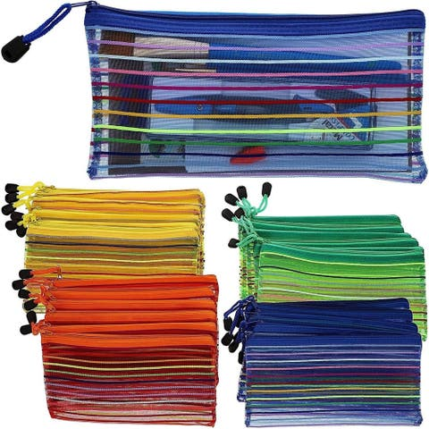24-Pack Mesh Zipper Pencil Pouch Document Holder for School Office Home Travel