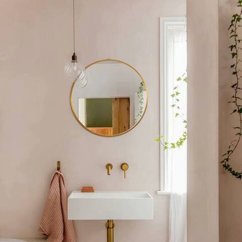 Modern Aluminum Alloy Thin Frame Wall-Mounted Vanity Round Mirror