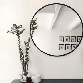 Modern Aluminum Alloy Thin Frame Wall-Mounted Vanity Round Mirror