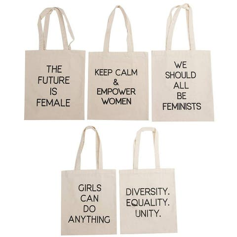 5-Pack Assorted Feminist Quotes Tote Bags Cotton Canvas Shopping Bags For Women