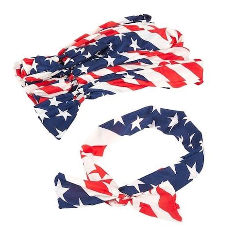 Juvale American Flag Patriotic Bowknot Headbands (12 Count)
