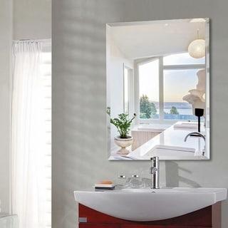 Simple Frameless Beveled Wall-Mounted Bathroom Vanity Mirror