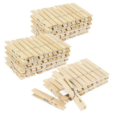 Juvale 100 Pack - Wooden Clothespins - Large Clothes Pegs Laundry, Arts, Crafts