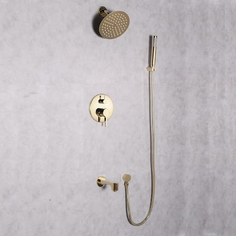 Eviva Splash Gold Coated Shower and Tub Faucet Set