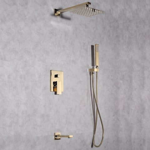 Eviva Beverly Gold Coated Shower and Tub Faucet Set
