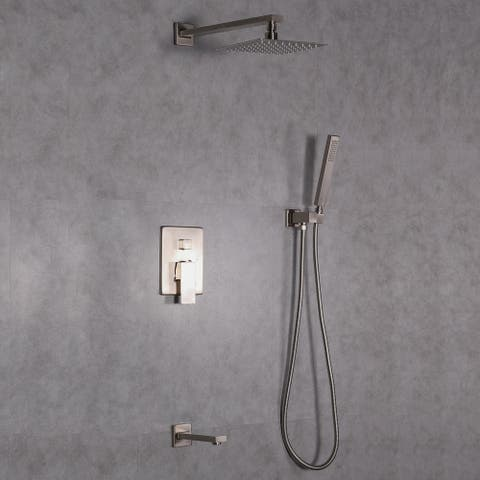 Eviva Beverly Shower and Tub Faucet Set in Brushed Nickel Finish