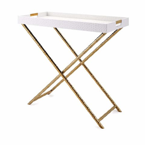 Leatherette Covered Wooden Tray Table with Metal X Style Leg Base, White and Gold