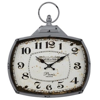 Glass and Steel Wall Clock With a Top Ring Handle and Numerals, White and Black