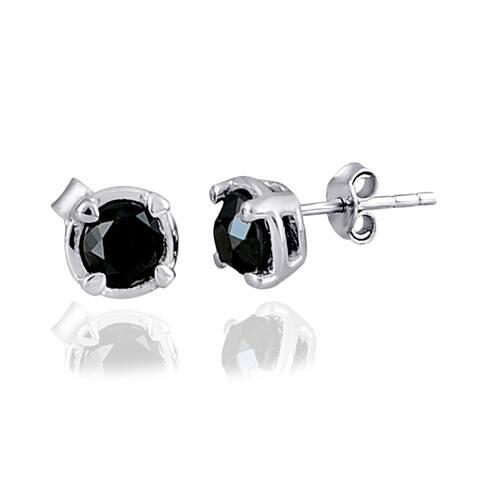 Diamond Sterling Silver Round Stud Earrings by Diacrown