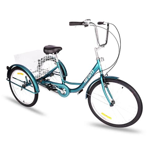 Single Speed 3-Wheeled Tricycle with Basket and Bell