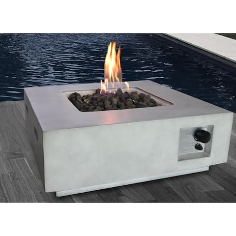 "Santiago 30"" Square Fire Pit With Protective Lid"