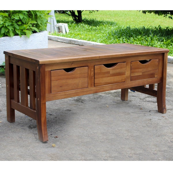 Superbe Shop International Caravan Acacia 3 Drawer Storage Bench   On Sale   Free  Shipping Today   Overstock   2986849