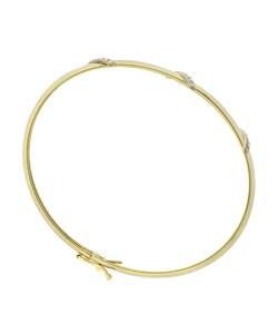 DB Designs 18k Gold Over Silver Diamond Accent Flex Bangle - Thumbnail 1